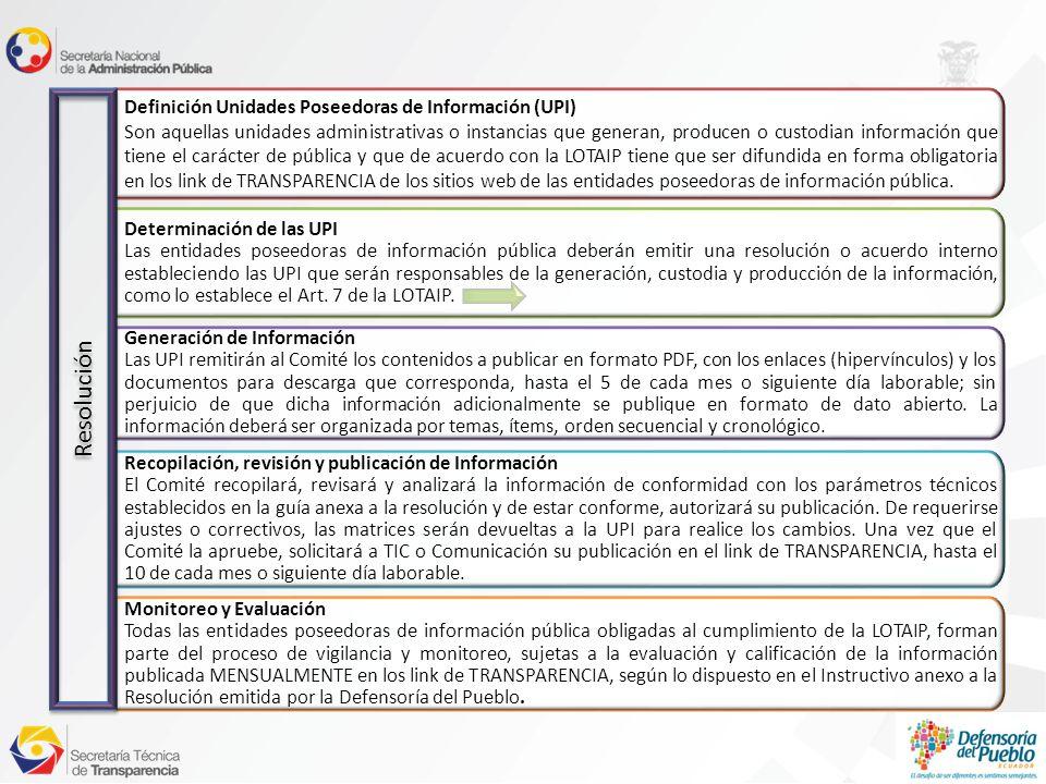 Determinación de las UPI Las entidades poseedoras de información pública deberán emitir una resolución o acuerdo interno estableciendo las UPI que serán responsables de la generación, custodia y producción de la información, como lo establece el Art.