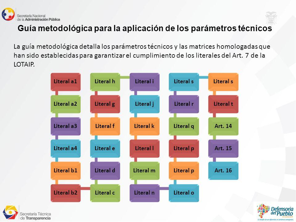 Guía metodológica para la aplicación de los parámetros técnicos La guía metodológica detalla los parámetros técnicos y las matrices homologadas que han sido establecidas para garantizar el cumplimiento de los literales del Art.