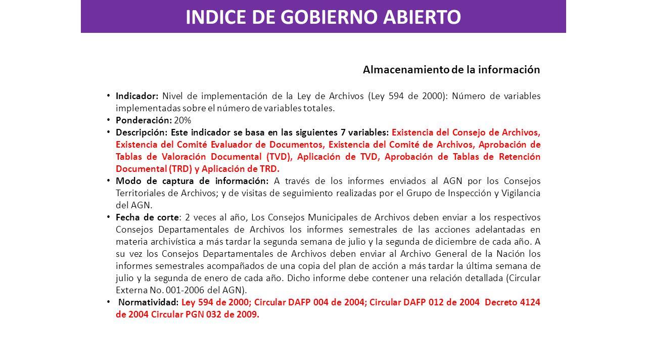Almacenamiento de la información Indicador: Nivel de implementación de la Ley de Archivos (Ley 594 de 2000): Número de variables implementadas sobre el número de variables totales.