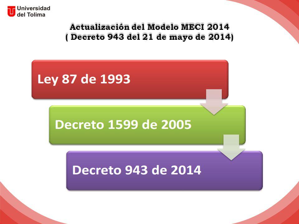 Actualización del Modelo MECI 2014 ( Decreto 943 del 21 de mayo de 2014) Actualización del Modelo MECI 2014 ( Decreto 943 del 21 de mayo de 2014)