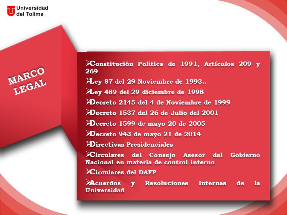 MARCO LEGAL MARCO LEGAL  C onstitución Política de 1991, Artículos 209 y 269  L ey 87 del 29 Noviembre de 1993..