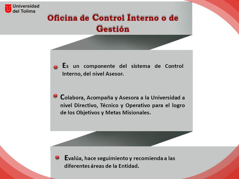 Oficina de C ontrol I nterno o de G estión E s un componente del sistema de Control Interno, del nivel Asesor.