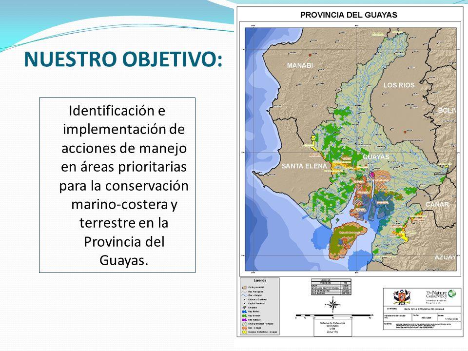 NUESTRO OBJETIVO: Identificación e implementación de acciones de manejo en áreas prioritarias para la conservación marino-costera y terrestre en la Provincia del Guayas.