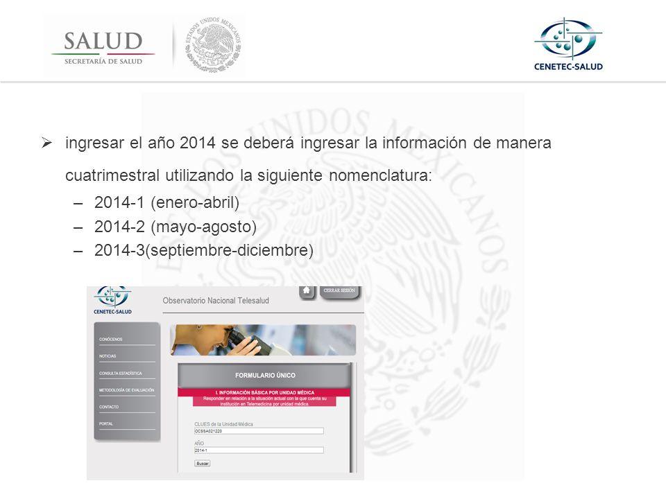  ingresar el año 2014 se deberá ingresar la información de manera cuatrimestral utilizando la siguiente nomenclatura: –2014-1 (enero-abril) –2014-2 (mayo-agosto) –2014-3(septiembre-diciembre)