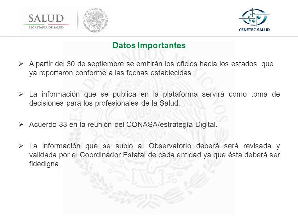 Datos Importantes  A partir del 30 de septiembre se emitirán los oficios hacia los estados que ya reportaron conforme a las fechas establecidas.