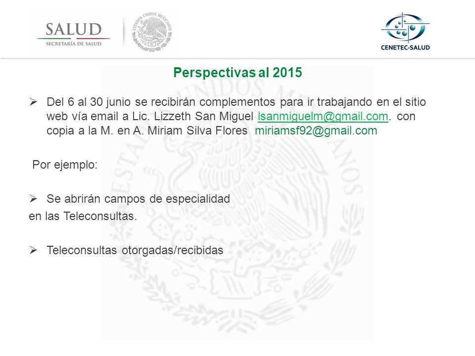 Perspectivas al 2015  Del 6 al 30 junio se recibirán complementos para ir trabajando en el sitio web vía email a Lic.