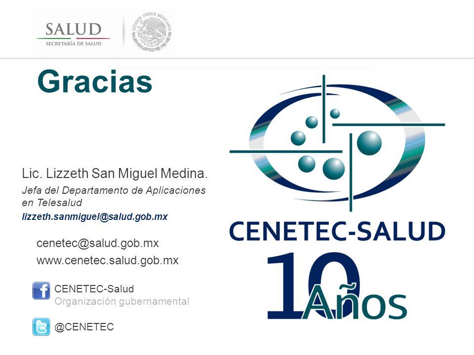 CENETEC-SALUD cenetec@salud.gob.mx www.cenetec.salud.gob.mx CENETEC-Salud Organización gubernamental @CENETEC Gracias Lic.