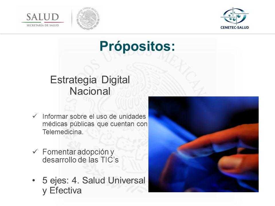 Própositos: Estrategia Digital Nacional Informar sobre el uso de unidades médicas públicas que cuentan con Telemedicina.