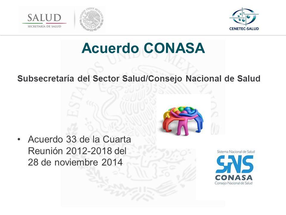 Acuerdo CONASA Subsecretaría del Sector Salud/Consejo Nacional de Salud Acuerdo 33 de la Cuarta Reunión 2012-2018 del 28 de noviembre 2014