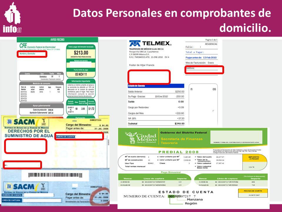 Datos Personales en comprobantes de domicilio.