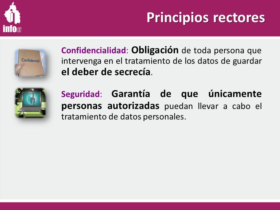 Principios rectores Confidencialidad: Obligación de toda persona que intervenga en el tratamiento de los datos de guardar el deber de secrecía.