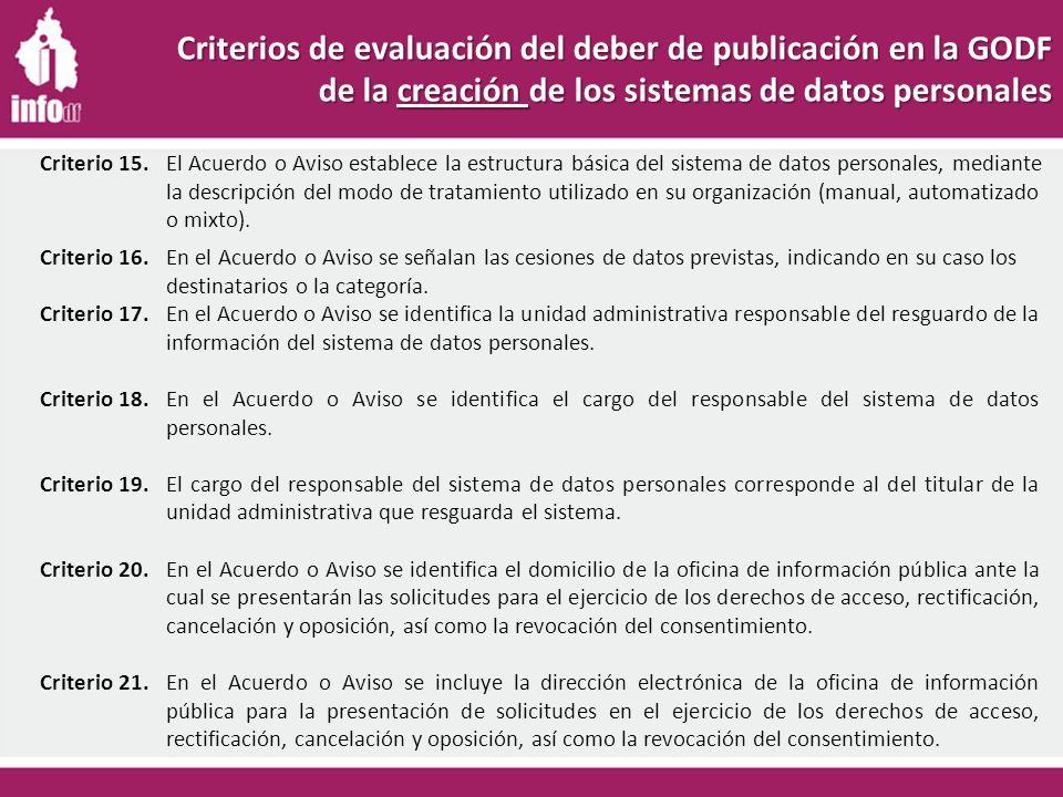 Criterios de evaluación del deber de publicación en la GODF de la creación de los sistemas de datos personales Criterio 16.En el Acuerdo o Aviso se señalan las cesiones de datos previstas, indicando en su caso los destinatarios o la categoría.