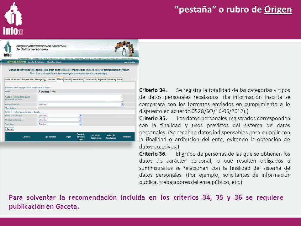 Criterio 34. Se registra la totalidad de las categorías y tipos de datos personales recabados.