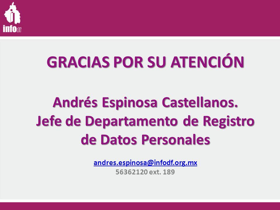 GRACIAS POR SU ATENCIÓN Andrés Espinosa Castellanos.