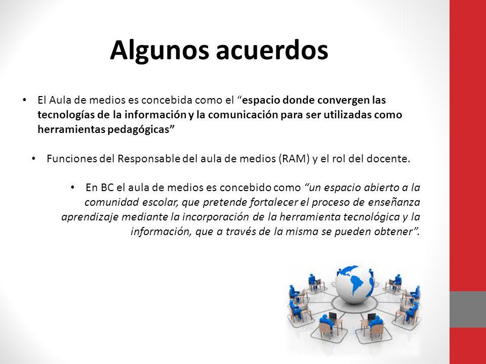 El Aula de medios es concebida como el espacio donde convergen las tecnologías de la información y la comunicación para ser utilizadas como herramientas pedagógicas Funciones del Responsable del aula de medios (RAM) y el rol del docente.