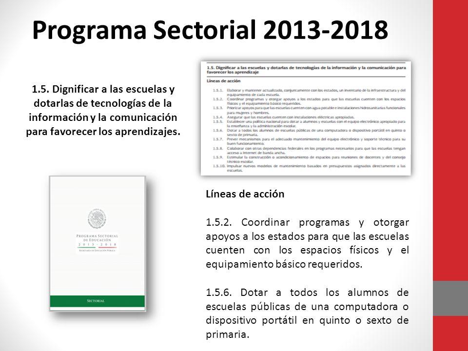 Programa Sectorial 2013-2018 Líneas de acción 1.5.2.