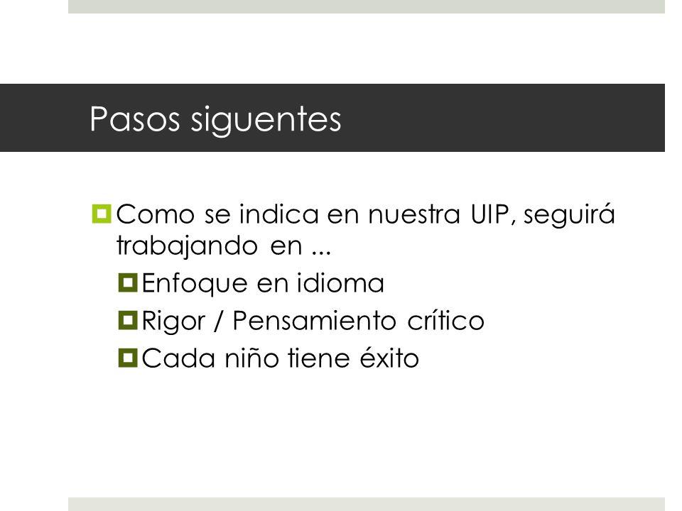 Pasos siguentes  Como se indica en nuestra UIP, seguirá trabajando en...