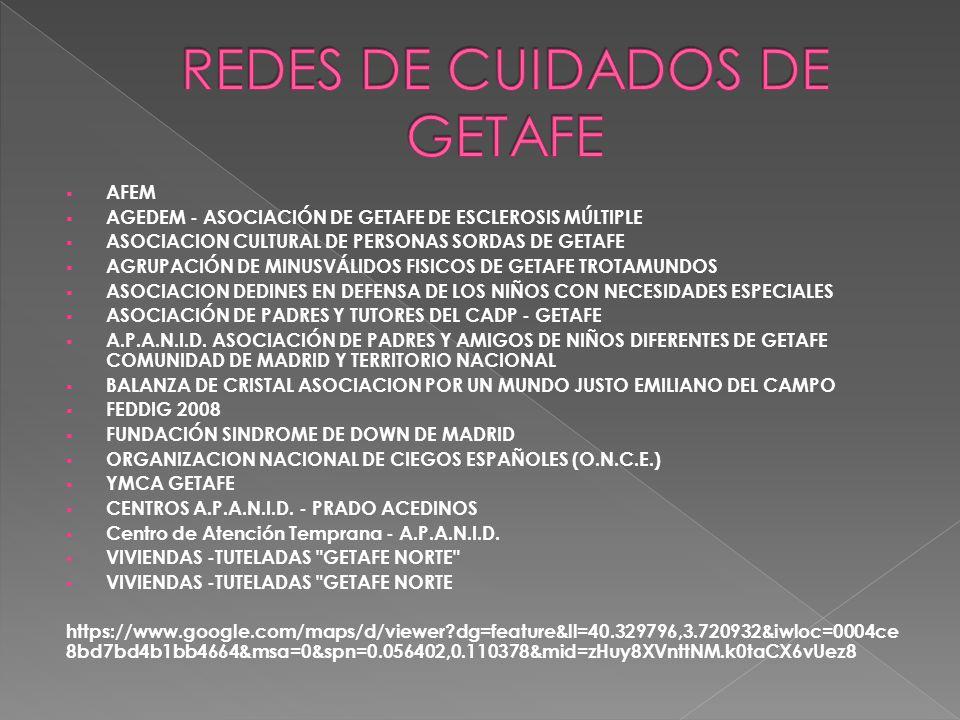  AFEM  AGEDEM - ASOCIACIÓN DE GETAFE DE ESCLEROSIS MÚLTIPLE  ASOCIACION CULTURAL DE PERSONAS SORDAS DE GETAFE  AGRUPACIÓN DE MINUSVÁLIDOS FISICOS DE GETAFE TROTAMUNDOS  ASOCIACION DEDINES EN DEFENSA DE LOS NIÑOS CON NECESIDADES ESPECIALES  ASOCIACIÓN DE PADRES Y TUTORES DEL CADP - GETAFE  A.P.A.N.I.D.