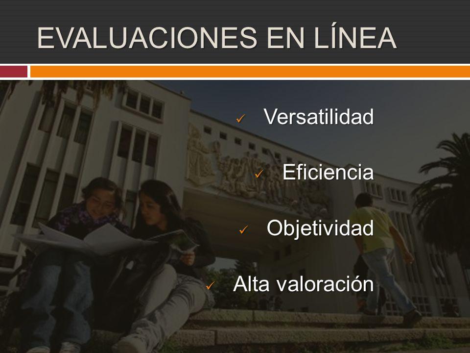 EVALUACIONES EN LÍNEA Versatilidad Versatilidad Eficiencia Eficiencia Objetividad Objetividad Alta valoración Alta valoración