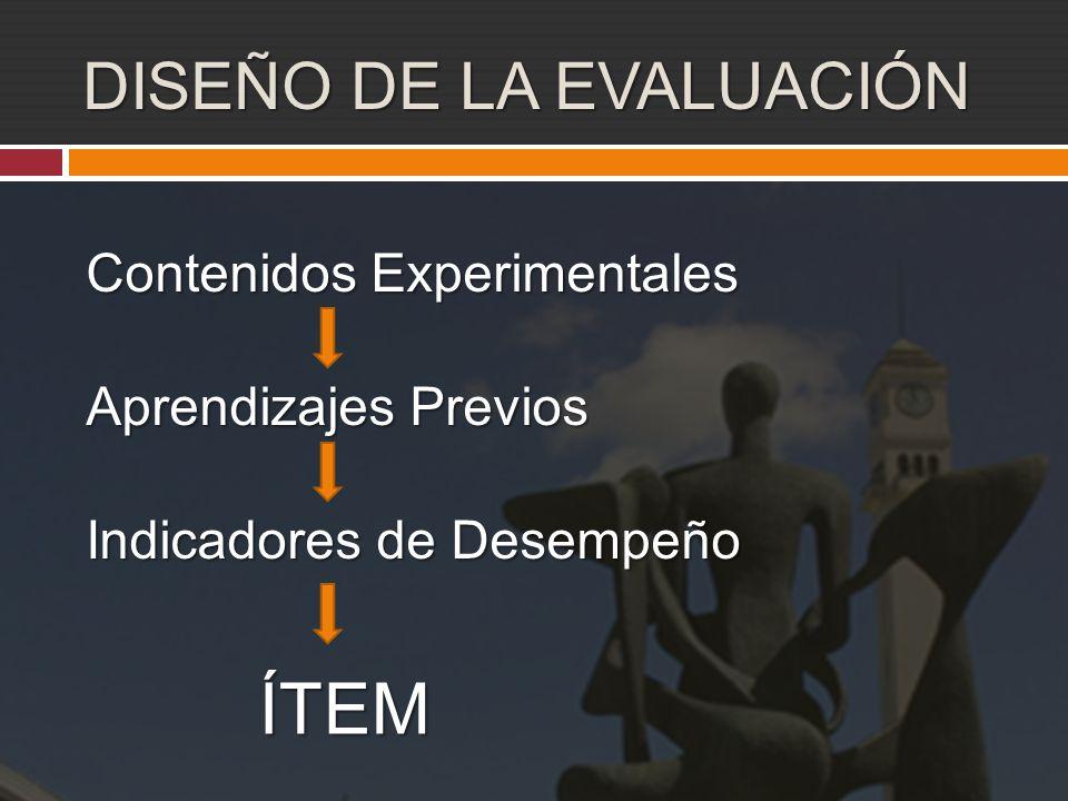 DISEÑO DE LA EVALUACIÓN Contenidos Experimentales Aprendizajes Previos Indicadores de Desempeño ÍTEM