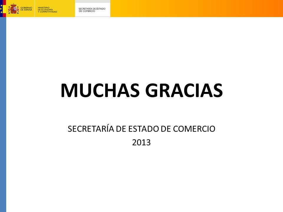 MUCHAS GRACIAS SECRETARÍA DE ESTADO DE COMERCIO 2013