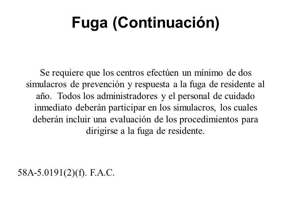 Fuga (Continuación) Se requiere que los centros efectúen un mínimo de dos simulacros de prevención y respuesta a la fuga de residente al año.
