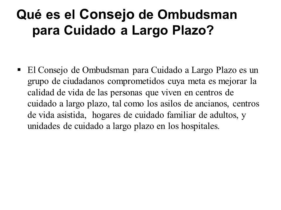 ¿Qué es el Consejo de Ombudsman para Cuidado a Largo Plazo.