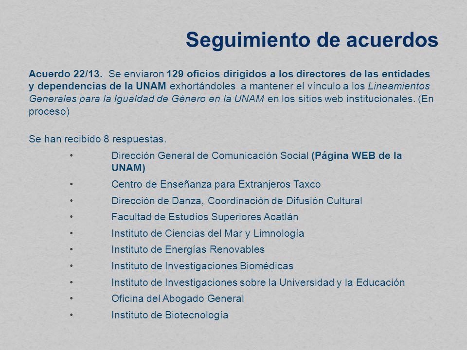 Seguimiento de acuerdos Acuerdo 22/13.