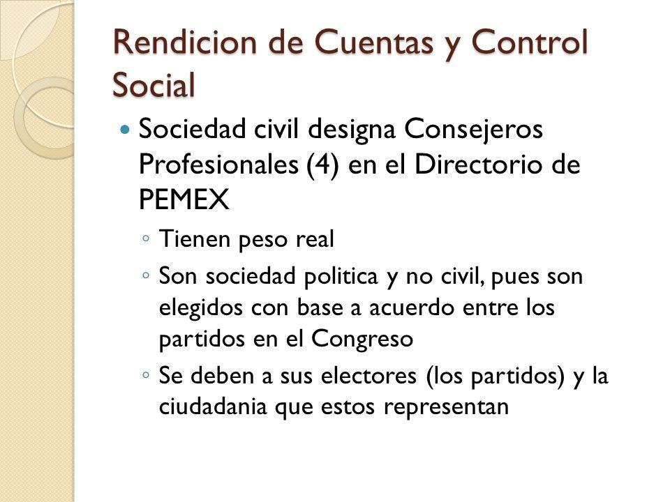 Rendicion de Cuentas y Control Social Sociedad civil designa Consejeros Profesionales (4) en el Directorio de PEMEX ◦ Tienen peso real ◦ Son sociedad politica y no civil, pues son elegidos con base a acuerdo entre los partidos en el Congreso ◦ Se deben a sus electores (los partidos) y la ciudadania que estos representan