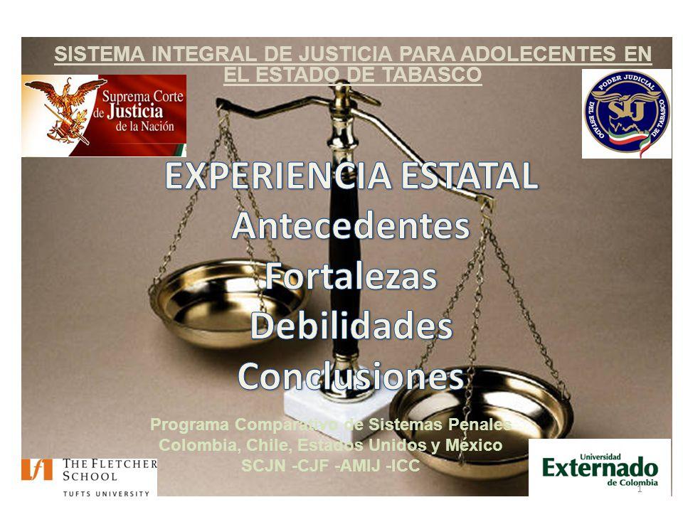 SISTEMA INTEGRAL DE JUSTICIA PARA ADOLECENTES EN EL ESTADO DE TABASCO Programa Comparativo de Sistemas Penales Colombia, Chile, Estados Unidos y México SCJN -CJF -AMIJ -ICC 1