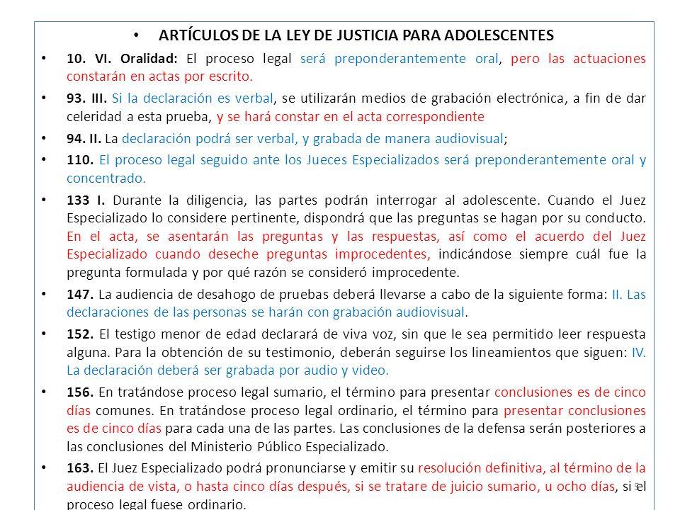 ARTÍCULOS DE LA LEY DE JUSTICIA PARA ADOLESCENTES 10.