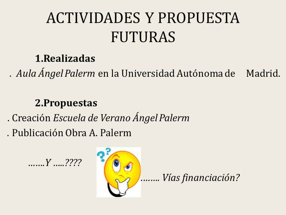 ACTIVIDADES Y PROPUESTA FUTURAS 1.Realizadas.