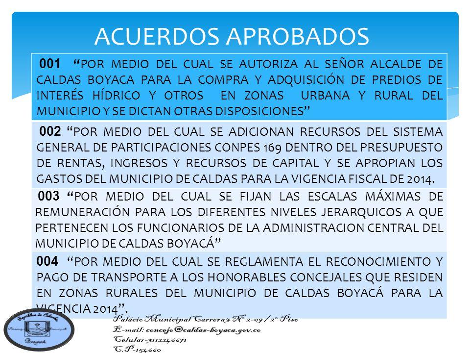 001 POR MEDIO DEL CUAL SE AUTORIZA AL SEÑOR ALCALDE DE CALDAS BOYACA PARA LA COMPRA Y ADQUISICIÓN DE PREDIOS DE INTERÉS HÍDRICO Y OTROS EN ZONAS URBANA Y RURAL DEL MUNICIPIO Y SE DICTAN OTRAS DISPOSICIONES 002 POR MEDIO DEL CUAL SE ADICIONAN RECURSOS DEL SISTEMA GENERAL DE PARTICIPACIONES CONPES 169 DENTRO DEL PRESUPUESTO DE RENTAS, INGRESOS Y RECURSOS DE CAPITAL Y SE APROPIAN LOS GASTOS DEL MUNICIPIO DE CALDAS PARA LA VIGENCIA FISCAL DE 2014.
