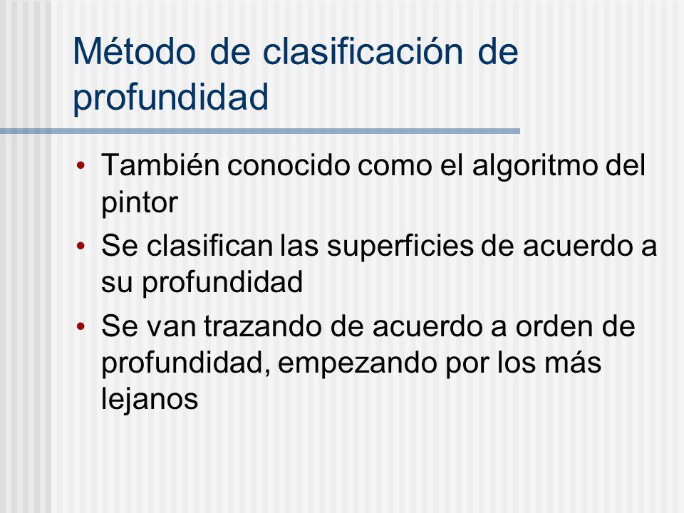 Método de clasificación de profundidad También conocido como el algoritmo del pintor Se clasifican las superficies de acuerdo a su profundidad Se van trazando de acuerdo a orden de profundidad, empezando por los más lejanos