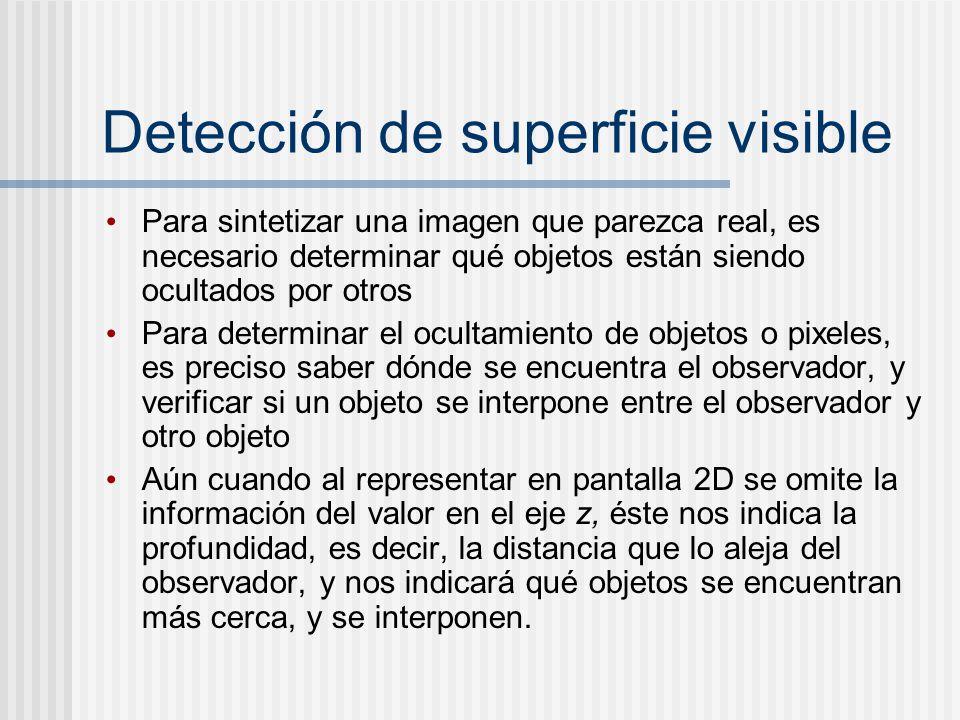 Detección de superficie visible Para sintetizar una imagen que parezca real, es necesario determinar qué objetos están siendo ocultados por otros Para determinar el ocultamiento de objetos o pixeles, es preciso saber dónde se encuentra el observador, y verificar si un objeto se interpone entre el observador y otro objeto Aún cuando al representar en pantalla 2D se omite la información del valor en el eje z, éste nos indica la profundidad, es decir, la distancia que lo aleja del observador, y nos indicará qué objetos se encuentran más cerca, y se interponen.