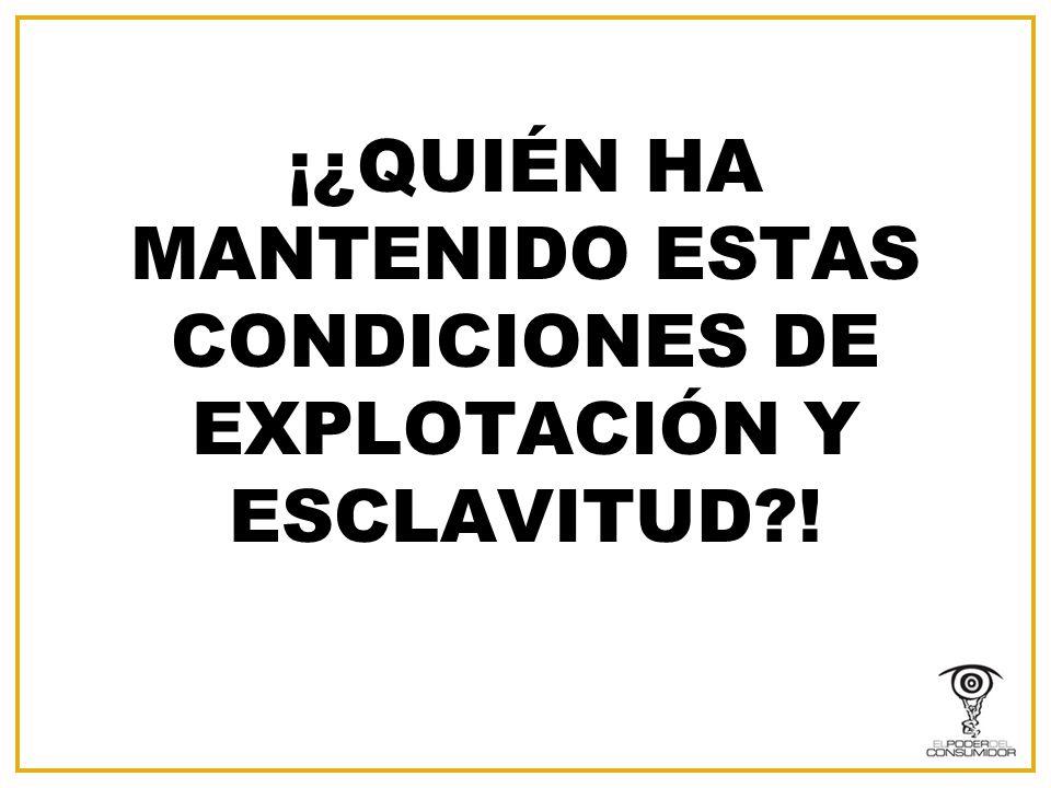 ¡¿QUIÉN HA MANTENIDO ESTAS CONDICIONES DE EXPLOTACIÓN Y ESCLAVITUD !