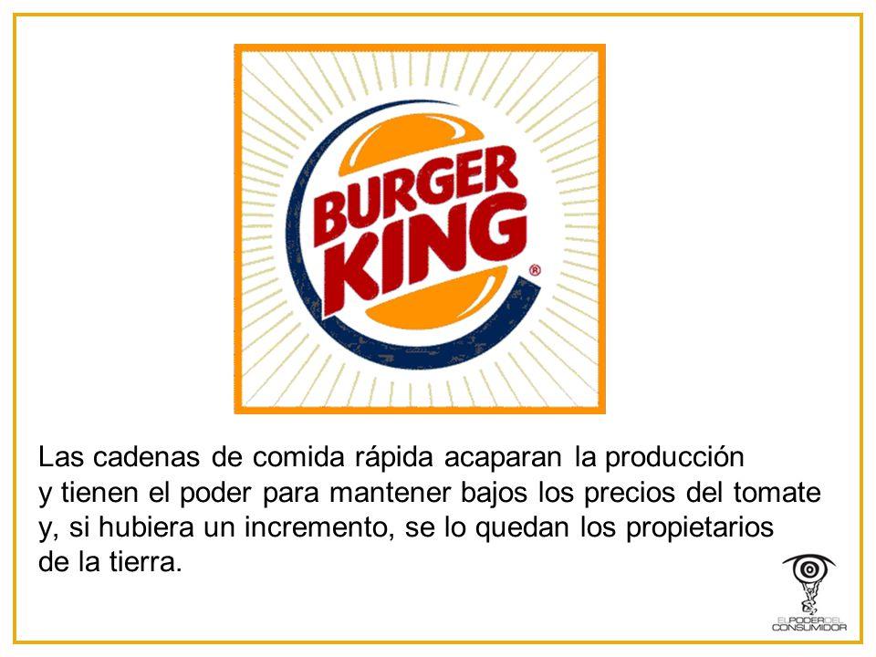 Las cadenas de comida rápida acaparan la producción y tienen el poder para mantener bajos los precios del tomate y, si hubiera un incremento, se lo quedan los propietarios de la tierra.