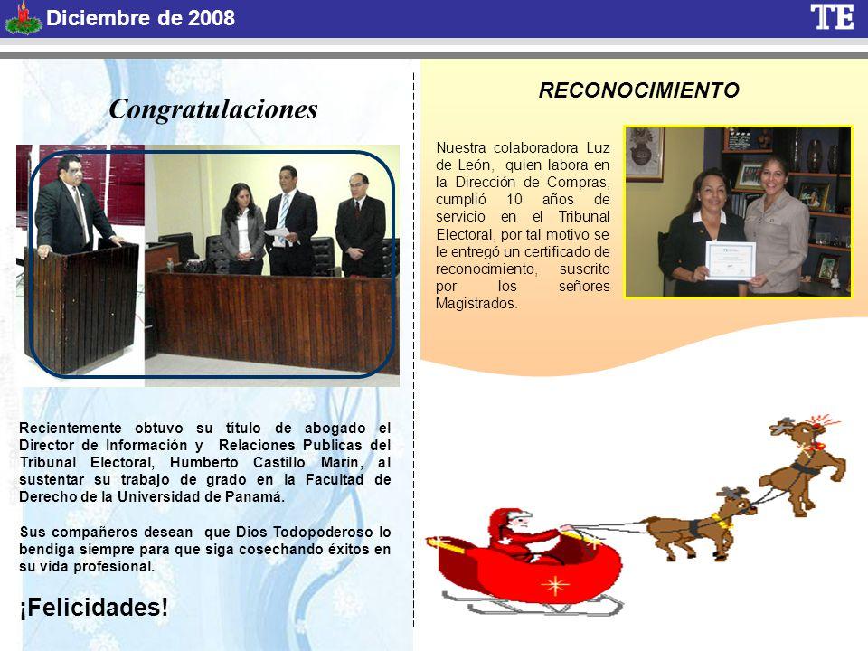 RECONOCIMIENTO Nuestra colaboradora Luz de León, quien labora en la Dirección de Compras, cumplió 10 años de servicio en el Tribunal Electoral, por tal motivo se le entregó un certificado de reconocimiento, suscrito por los señores Magistrados.