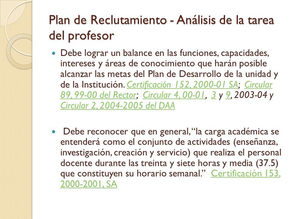 Plan de Desarrollo Certificación 43, 2006-2007 de la JS Reglamento para la Evaluación Periódica de Programas Académicos en la Universidad de Puerto Rico  Establece proceso de evaluaciones quinquenales de los programas académicos de las unidades  Un producto de la evaluación de programa es el Plan de Desarrollo, que a su vez genera un plan de reclutamiento.