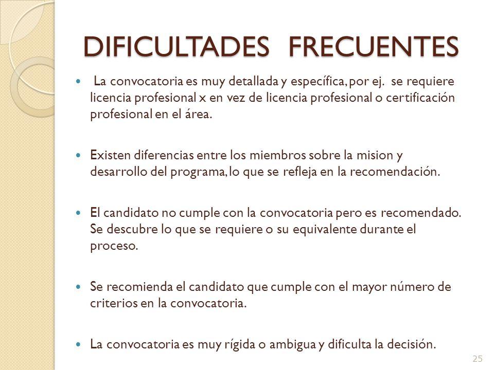 Dificultad en los Criterios de la Convocatoria y su aplicación Fecha de efectividad para recibir las solicitudes 15 de marzo de 2008 ó hasta que se llene la plaza ó un año lo que ocurra antes.