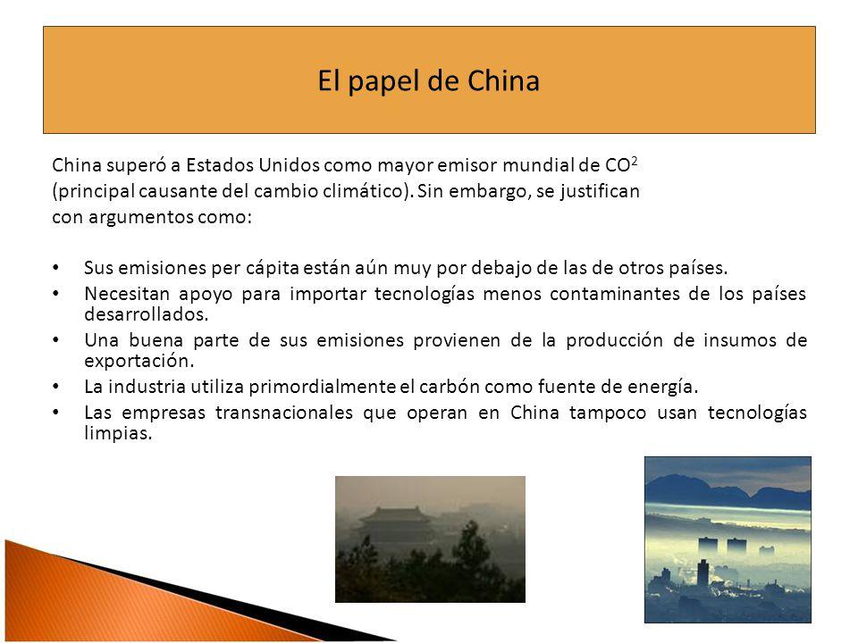El papel de China China superó a Estados Unidos como mayor emisor mundial de CO 2 (principal causante del cambio climático).