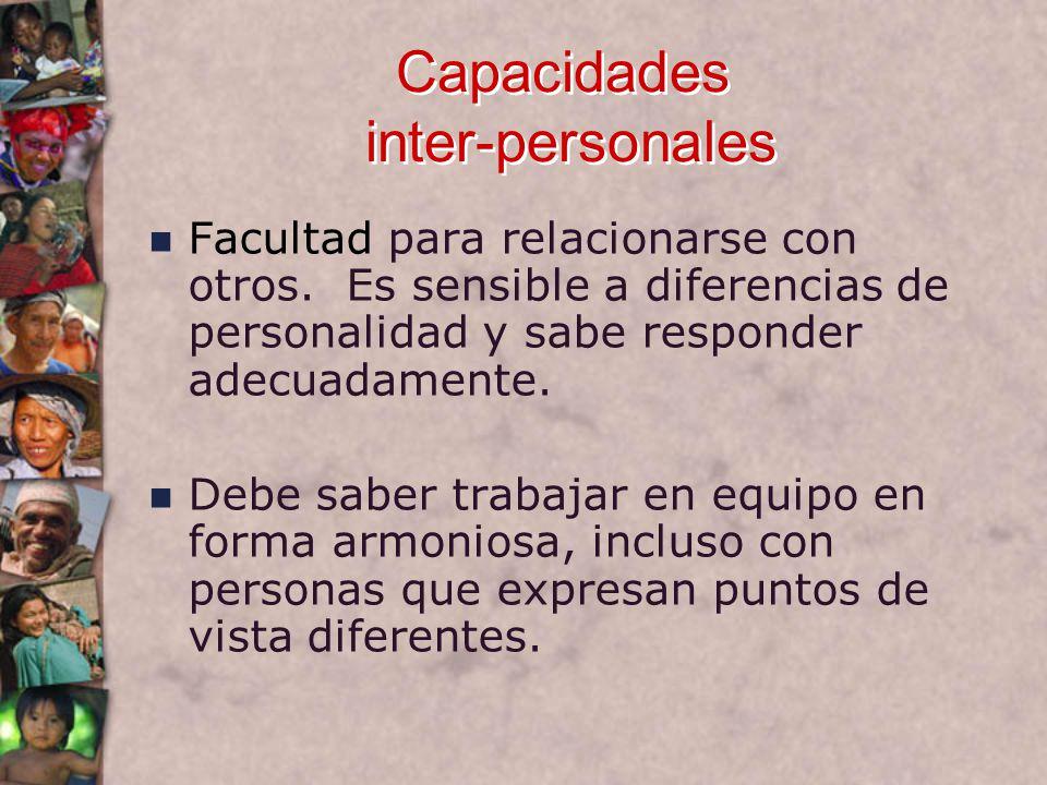 Capacidades inter-personales Facultad para relacionarse con otros.