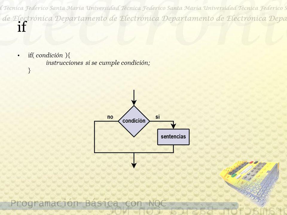 if if( condición ){ instrucciones si se cumple condición; }