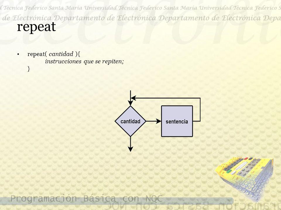 repeat repeat( cantidad ){ instrucciones que se repiten; }