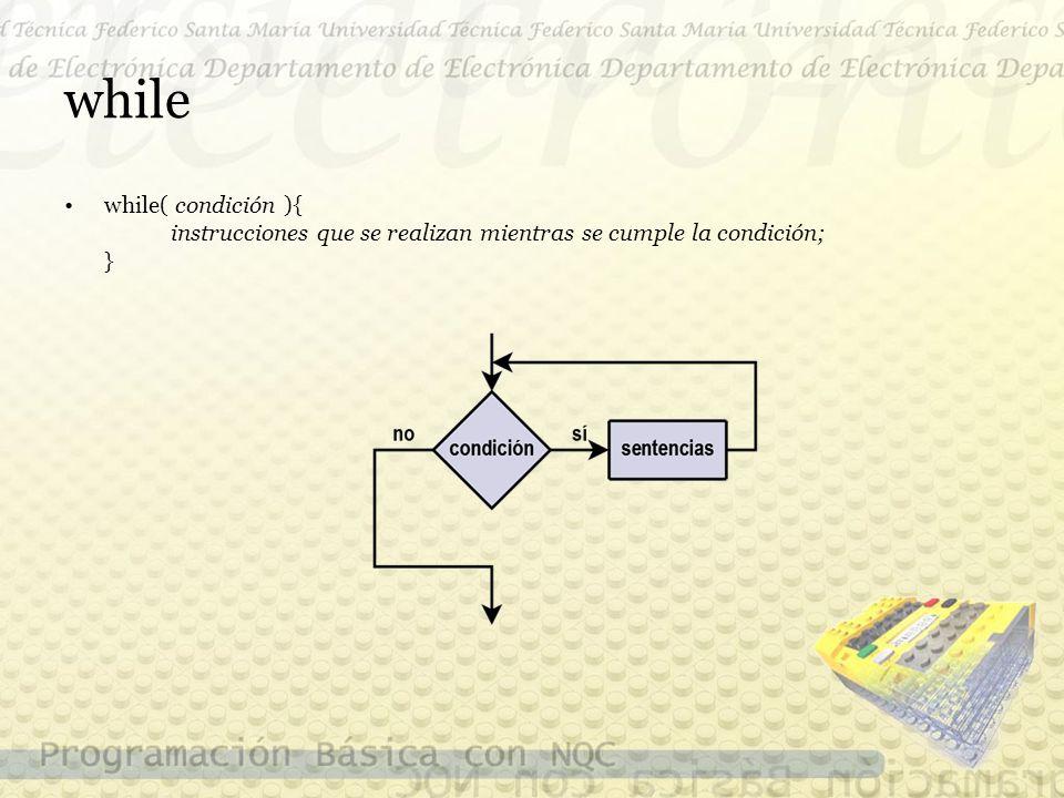 while while( condición ){ instrucciones que se realizan mientras se cumple la condición; }