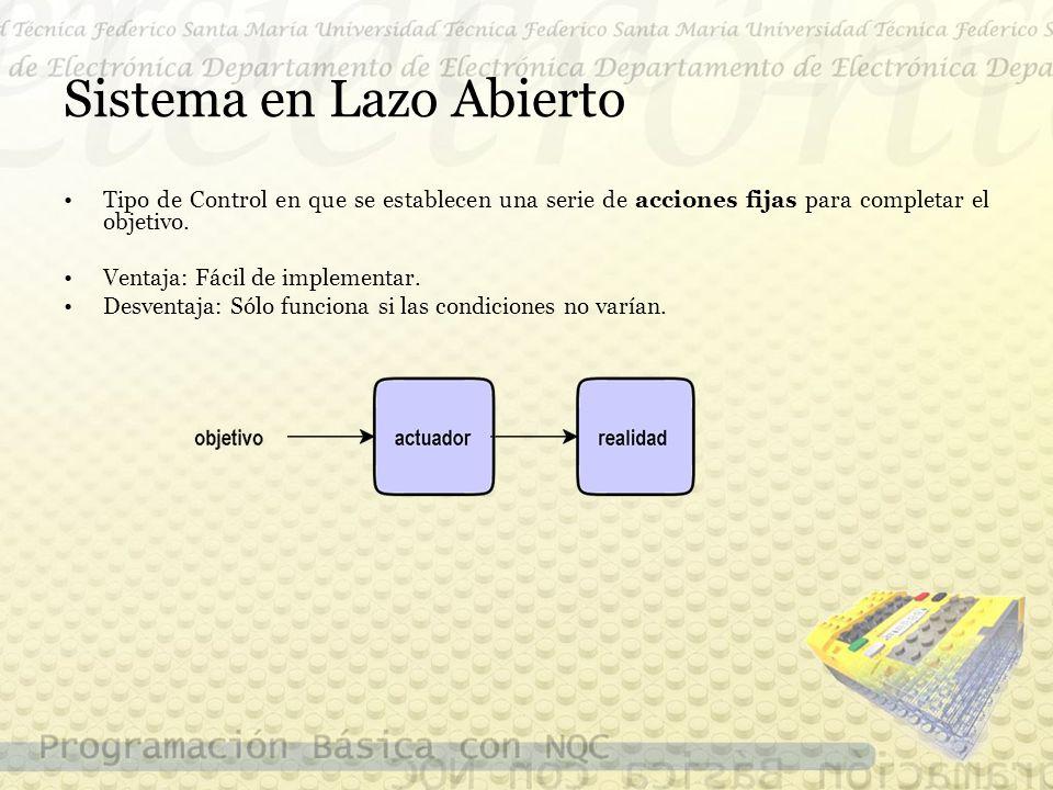 Sistema en Lazo Abierto Tipo de Control en que se establecen una serie de acciones fijas para completar el objetivo.