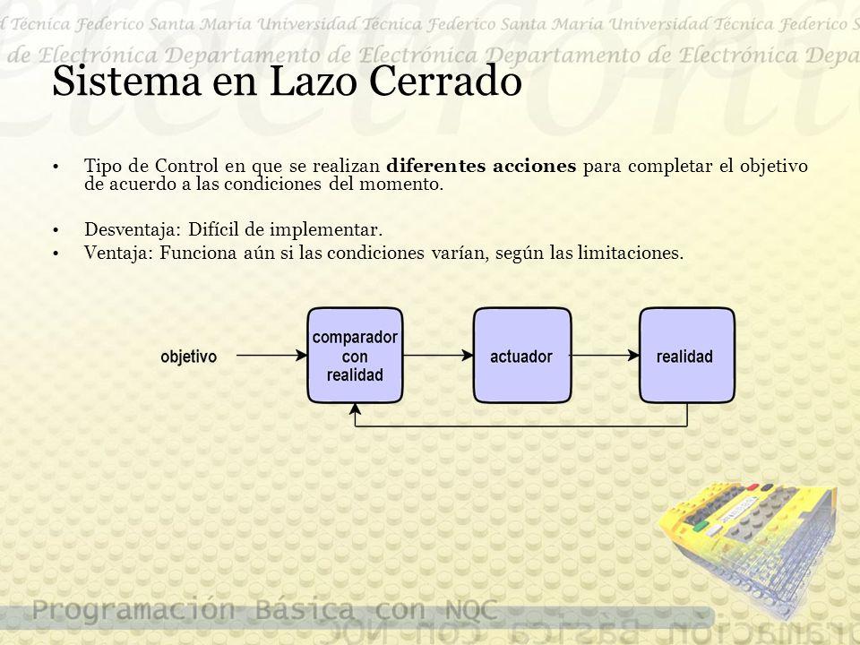 Sistema en Lazo Cerrado Tipo de Control en que se realizan diferentes acciones para completar el objetivo de acuerdo a las condiciones del momento.