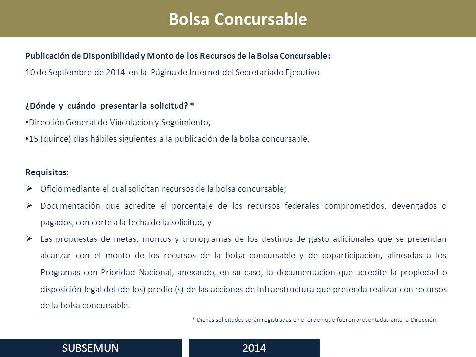 Bolsa Concursable SUBSEMUN 2014 Publicación de Disponibilidad y Monto de los Recursos de la Bolsa Concursable: 10 de Septiembre de 2014 en la Página de Internet del Secretariado Ejecutivo ¿Dónde y cuándo presentar la solicitud.