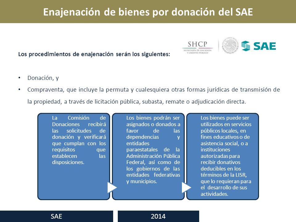Enajenación de bienes por donación del SAE SAE 2014 Los procedimientos de enajenación serán los siguientes: Donación, y Compraventa, que incluye la permuta y cualesquiera otras formas jurídicas de transmisión de la propiedad, a través de licitación pública, subasta, remate o adjudicación directa.