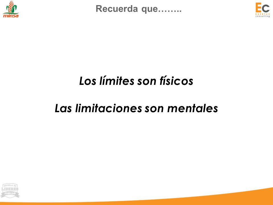 Los límites son físicos Las limitaciones son mentales Recuerda que……..